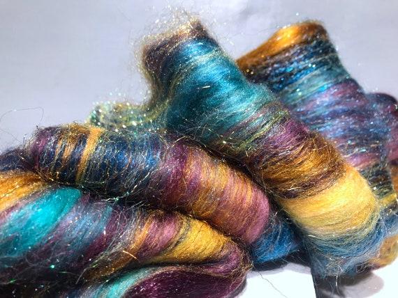 "Teal Green fiber art batt,  felting spinning fiber ""Lagniappe"" Teal Hunter aqua blue wine aqua gold topaz red violet, art batt RTS"