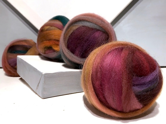 "Wine, Green wool roving ""Jewel Box"" SW Spinning fiber Needle Felting wool Fall color: pink wine purple violet red gold sage hunter green"