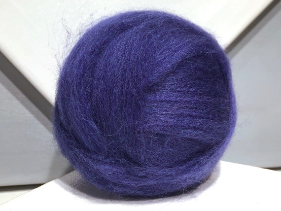 "Medium Blue wool roving ""Lupine"" variegated roving, Spinning fibers, Needle felting wool, deep blue wool, dark blue roving"
