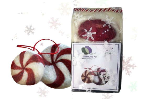 Needle Felting Kit, DIY Craft Kit, Peppermint candy, wool Christmas ornament plushie White red green holiday decor tree ornament bowl filler