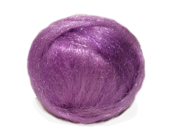Orchid Sparkly Firestar, Needle Felting, Spinning Fiber, light purple, lavender, lilac .5 oz, similar to Icicle Top, ships free with wool