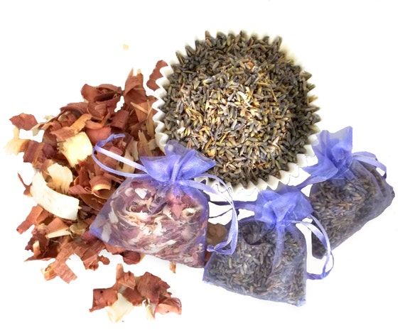 Lavender Rose Cedar sachet, your choice!  Yarn Fiber Sachets, Moth repellent, Wedding Favor Aromatherapy mothball alternative potpourri