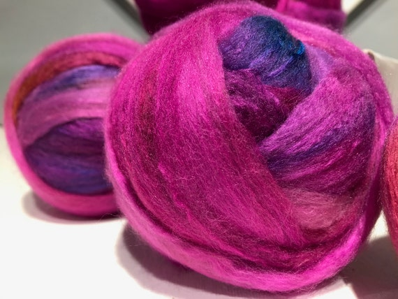 "Fuchsia Merino silk roving ""Sunshine Suzi"" Spinning Roving Felting Fiber: Fuchsia, Pink, Gold, orange, Blue, violet, purple"