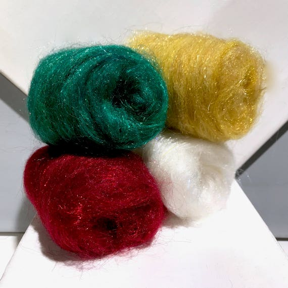 Holiday Felting Batt Sampler: Christmas Needle Felting kit, Green Red White Gold snow snowflake, Christmas Wool Kit Holiday Colors, DIY gift
