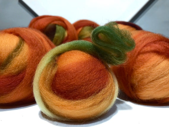 "Orange Green wool roving ""Pumpkin Patch"" Felting Spinning Fiber, Needle Felting wool, pumpkin orange, yellow orange, olive, green"