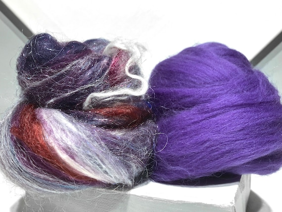 "Purple fiber art batt, spinning felting kit ""Frosted Grapes"" wool roving: Navy blue, Violet, Eggplant, Purple, Silver Plum, Red Violet Grape"
