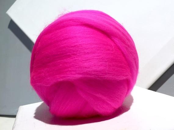 Fuchsia Pink Merino Wool Roving, bright pink Merino roving, Needle Felting, Spinning Fiber, Merino roving, florescent pink roving
