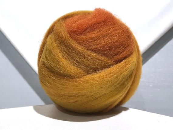 Ochre wool roving, hand dyed Felting Spinning Fiber, mustard yellow gold cinnamon red, sienna yellow, yellow ochre, yellow orange