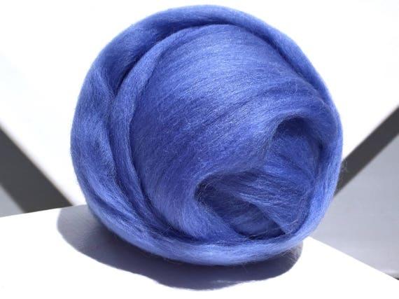 Hyacinth Blue Merino Wool Roving, Medium Blue roving, Needle Felting, Spinning Fiber, Ceil Blue Merino roving, Saori weaving
