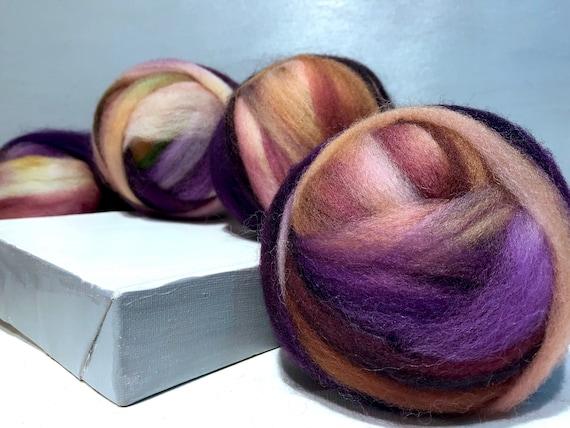 "Purple brown wool roving ""Cornucopia"" SW Spinning fiber Needle Felting wool, rust brown copper violet topaz gold oak beige pink lavender"