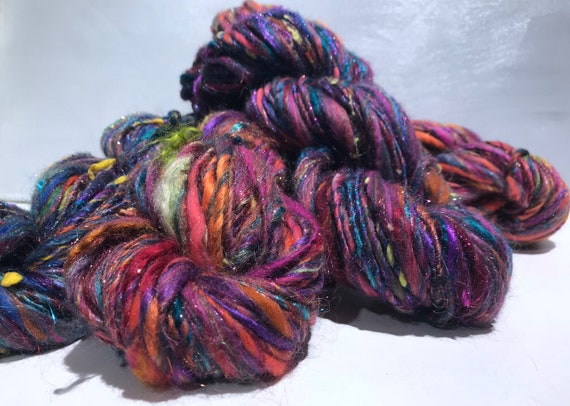 "scrap yarn, bulky, thick and thin, super texture, mixed fiber Handspun , MTO, ""Kaleidescope"""