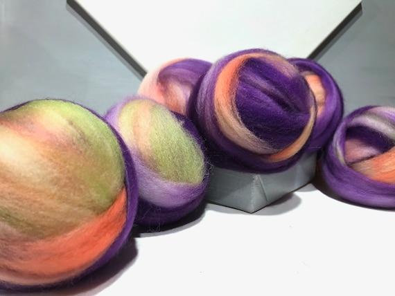 "Variegated Blue Violet wool roving ""Fruit Salad"" SW Spinning fiber Needle Felting wool, Purple, Violet, Lavender, Yellow Green, peach salmon"
