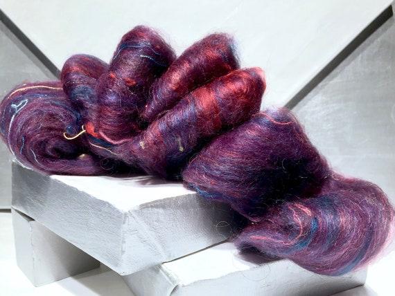 "Purple fiber art batt wool, felting spinning ""Purple Prism Too"" purple, lavender, orchid, hyacinth blue, Red Violet hand spinning"