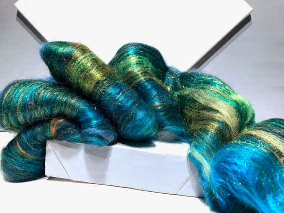 "Blue Green fiber art batt, felting spinning fiber ""Verdant Bleu"" Aqua Blue Hunter green yellow green aqua, peacock blue, gold mini batt, MTO"