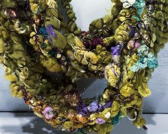 "Core-spun, Boucle Art Yarn, Handspun ""Ginseng & Lavender"" 4.8 oz, 20 yards: yellow green, gold, ochre, super bulky"
