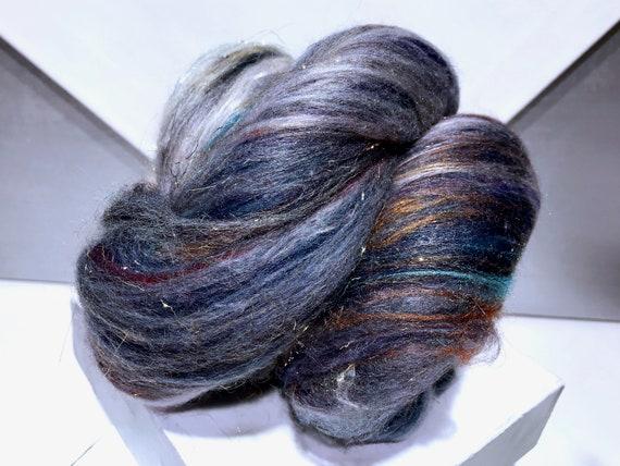 """blue brown fiber art batt, spinning felting kit """"Denim Lapis"""" wool roving: Navy/peacock blue, lavender, brown grey rust white  gold silver"""
