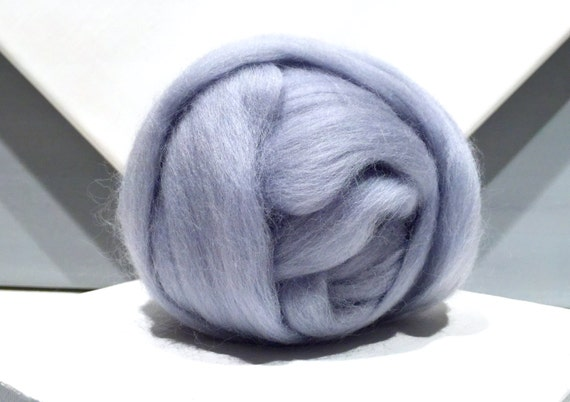 Silver Blue Merino wool roving, Needle Felting, Spinning Fiber, blue silver wool roving, pale blue grey, light slate blue, Saori weaving