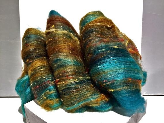 "Teal fiber art batt, wool, roving MTO ""Verdigris"" spinning, felting, Aqua, turquoise, rust, topaz, copper, sienna, teal"