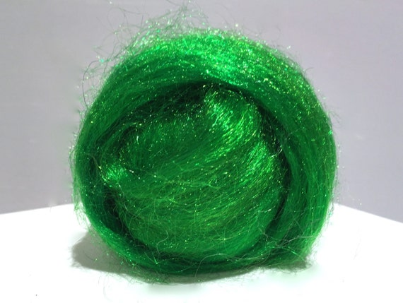 Lime, Sparkly Firestar, Needle Felting, Spinning Fiber, roving, .5 oz, lime green, light green, similar to Icicle Top, ships free with wool