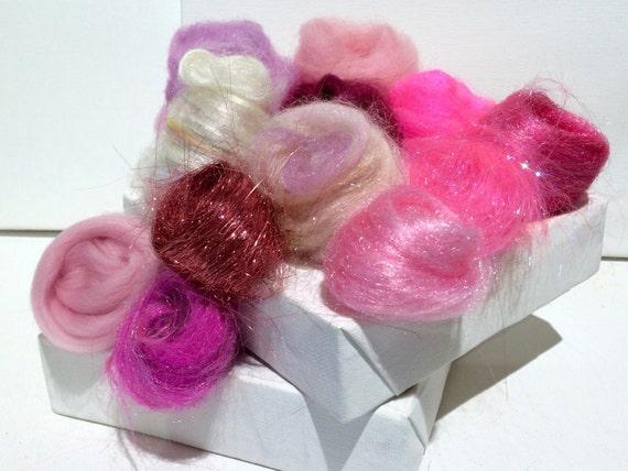 Pink Fiber Art kit Sampler, felting wool, spinning, blending board fiber, Needle Felting kit, pink palette: fuschia, cotton candy, rose 1 oz