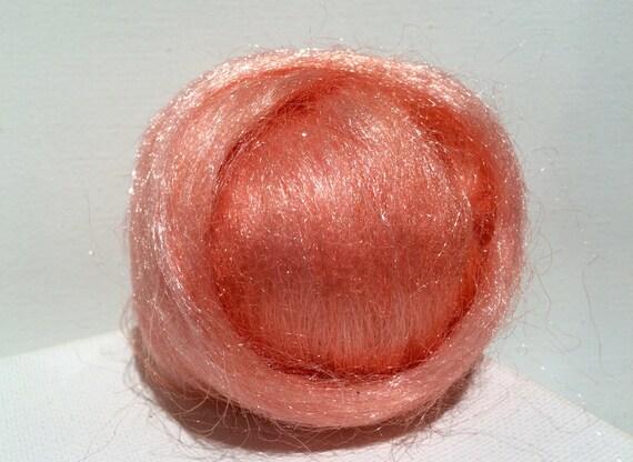 Salmon Firestar, Needle Felting , Spinning Fiber, roving, .5 oz, Pink Orange, light orange,  similar to Icicle Top