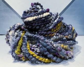 "Grey, gold art yarn, Corespun ""Mystical Mischief"" 4.35 oz, 40 yards Graphite silver grey white violet green gold, Weaving Knitting Crochet"
