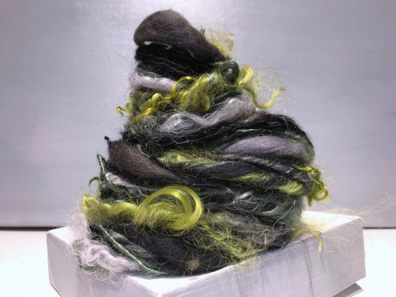 "Grey Green Art Yarn, bulky, thick and thin art yarn, ""Verdant Winter"" Handspun yarn: Tailspun locks, Olive, Dark Green, Pewter, Black, grey"