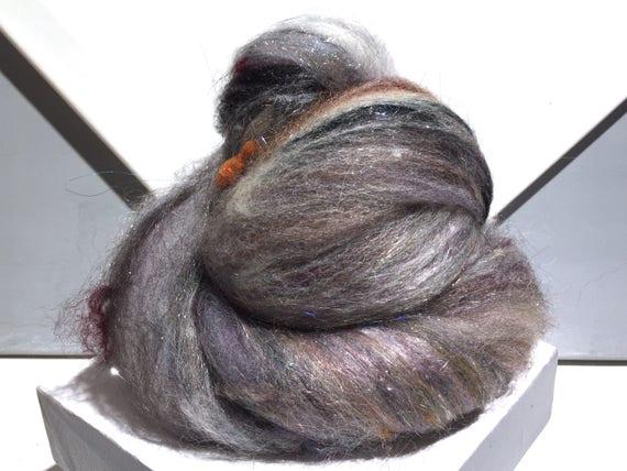 """BATT CRAZY art batt, mixed fiber batt """"The Neutral Zone"""" wool, roving, scrap fiber, felting, needle felting, spinning, wet felting"""