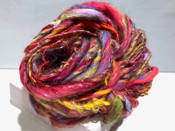 "Thick Thin Art Yarn, bulky handspun yarn ""Summer Bouquet"" Coral, Hyacinth Blue Yellow Magenta red lavender spring green, Knitting weaving"
