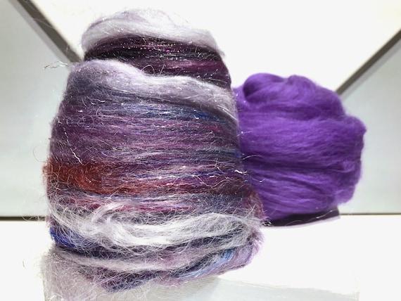 "Purple fiber art batt, spinning felting kit ""Frosted Grapes"" wool roving: Navy blue, Violet, Eggplant, Purple, Silver Plum, Red Violet Grape"