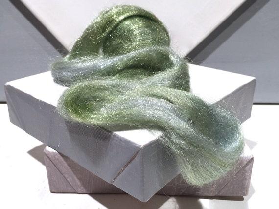 Silver Green Firestar Roving, Needle Felting, Nylon Spinning Fiber, roving, .5 oz, light grey green, light sage green, similar to Icicle Top