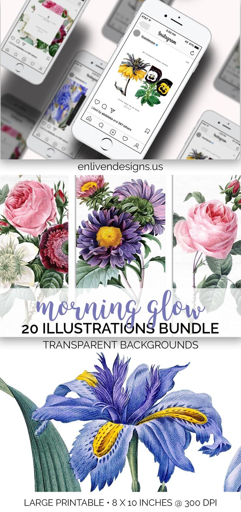 Flower Clipart Bundle  Vintage Printable Floral Download  image 0
