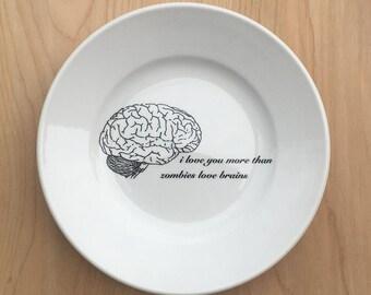 "zombies love brains dessert 7"" plate, halloween dinnerware, horror, goth tableware, valentine gift, zombie love, walking dead"