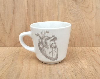 anatomical heart teacup, GHOSTIE GREY, cardiologist gift, goth teacup, halloween dinnerware, corazon, horror fan gift, valentine's day heart