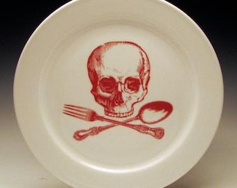 skull and cross-utensils 9 inch dinner plate in RED