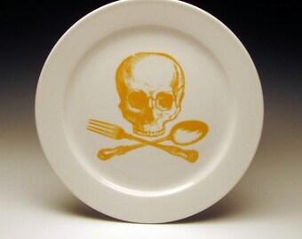 skull and cross-utensils 9 inch dinner plate in Goldenrod Yellow
