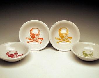 Rainbow Skull Dipping Bowls, set of 4, sugar skull, halloween dishes, horror fan gift, pirate bowls, goth tableware, goth home decor