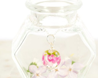 Pendant in glass and sterling silver - Fuchsia flower necklace - Gift for her - Made to Order