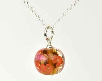 Statement pendant in glass, gold leaf and sterling silver - Amber, pink and gold floral necklace - Orlena capsule, Autumn 2019 Collection