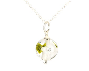 Pendant in glass and sterling silver - White flower necklace - Gift for her - Made to Order