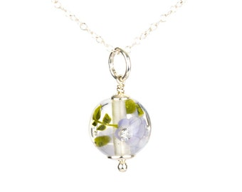 Pendant in glass and sterling silver - Lilas flower necklace - Gift for her - Made to Order