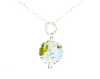 Pendant in glass and sterling silver - Periwinkle flower necklace - Gift for her - Made to Order