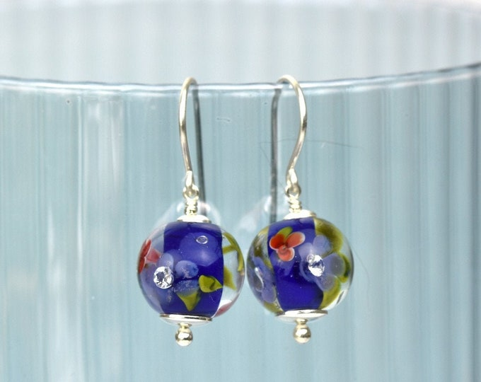 Earrings in glass and sterling silver - Cobalt and red earrings - Made to Order
