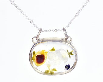 Solène oval necklace, in glass and sterling silver