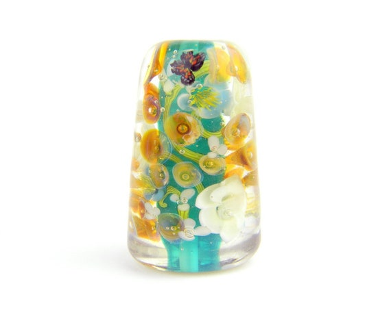 Lampwork Glass Bead - Opal teal green and light ivory roses 38mm bead - Rainforest Collection