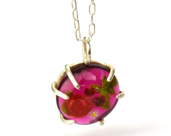 Garance - Long Necklace in glass and sterling silver 50cm - Floral jewelry - Bright and dark red roses