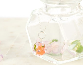 Pendant in glass and sterling silver - Apricot flower necklace - Gift for her - Made to Order