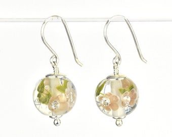 Earrings in glass and sterling silver - Chai flower earrings - Gift for her - Made to Order