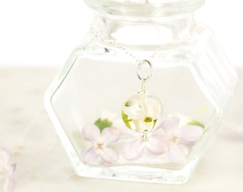 Pendant in glass and sterling silver - Ivory flower necklace - Gift for her - Made to Order