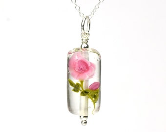 Rose - Necklace in glass and sterling silver 45cm - Floral jewelry - Pink roses